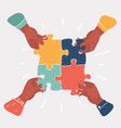 teamwork concept with puzzle vector image vector image