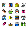 thin line laundry icons set vector image