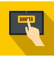 Touch screen tablet icon flat style vector image