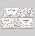vintage bakery banners with sketched bread vector image