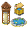 water tower a well and decorative lake vector image vector image