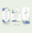 wedding floral menu place information cards vector image vector image