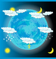 world meteorological day earth clouds sun moon vector image