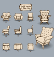 doodle armchair set vector image