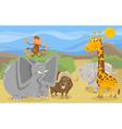 safari animals group cartoon vector image