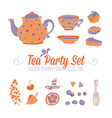 A set of party objects for tea time vector image