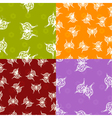 A set of seamless textures with paper butterfly vector image vector image