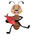 ant holding fish on white background vector image vector image