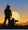 army soldiers on battle field vector image vector image