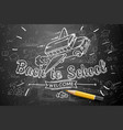 back to school banner doodle on chalkboard vector image vector image