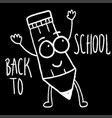 back to school blackboard with character funny vector image