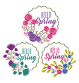 beauty floral labels hello spring collection vector image vector image