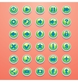 Big set of round buttons cartoon green for the vector image vector image