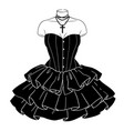 black gothic dress with puffy ruffles vector image