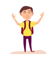 boy with rucksack raise hands up vector image