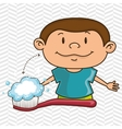 boy with toothbrush isolated icon design vector image vector image