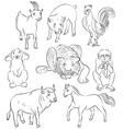 Bull cock goat horse monkey pig rabbit tiger vector image vector image