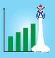 businessman launching beyond bar graphs by rocket vector image vector image