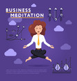 businesswoman in meditation pose on work vector image