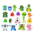 cartoon monster collection set vector image vector image