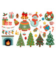 collection christmas decorations vector image