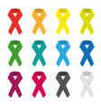 collection of 12 color awareness ribbons vector image