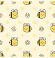 cute bee and flower seamless pattern background vector image vector image