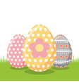 decorate floral easter eggs on field vector image vector image