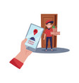 delivery girl standing near door holding pizza vector image
