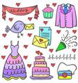 doodle of wedding element set vector image