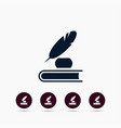 feather with ink icon simple pen element school vector image