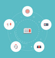 flat icons auditorium customer summary megaphone vector image vector image