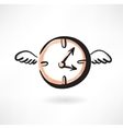 Flying clocks grunge icon vector image