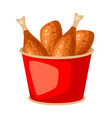 fried chicken in red bucket fast food snack vector image vector image