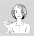 girl holding a spoon in her hand vector image
