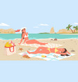 girls friends in bikini relax sunbathing together vector image