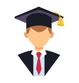 Graduation people uniform avatar vector image