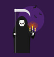 grim reaper with a scythe an a lantern halloween vector image