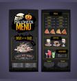 halloween menu design with jack o lantern vector image
