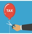 Hand cutting tax balloon string vector image vector image