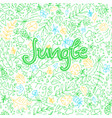 hand drawn doodle background in jungle theme vector image vector image