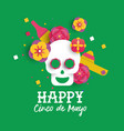 happy cinco de mayo paper skull and flower card vector image vector image