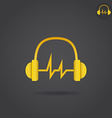 Headphone with sound wave vector image vector image