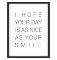 Inspirational quoteI hope your day is as nice as vector image vector image