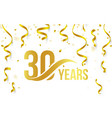 isolated golden color number 30 with word years vector image vector image