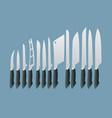 isometric knives butcher meat knife set cleaver vector image vector image