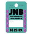 johannesburg airport luggage tag vector image vector image