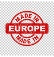 made in europe red stamp on isolated background vector image