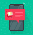 mobile phone or smartphone order push notification vector image vector image
