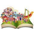 open book fun park theme vector image